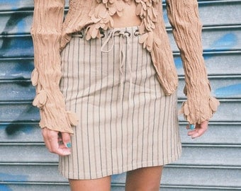 Tan Striped Mini Skirt with Grommet Waistline Detail + Leather Tie Belt