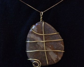 Sienna-sky-gray-coloured Natural Rock Pebble Necklace; Natural Pendant