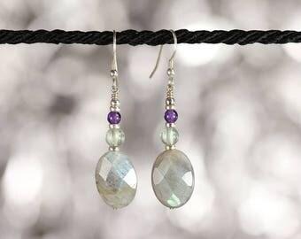 Labradorite, fluorite and amethyst sterling silver earrings