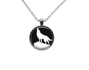 Black and white amulet Wolf jewelry Animal charm Nature necklace