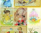 Nostalgic Spring Printable Collage Sheet (digital download, printable)