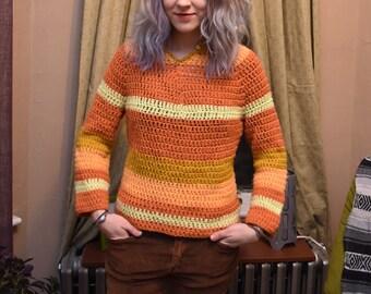 1970's Bell Sleeve Pullover Sweater Hippie Boho Orange Striped Knit Crochet