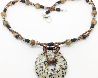Dalmatian Jasper Pendant, Dalmatian Jasper Beads, Picture Jasper, Frosted Agate and Bali Silver Clasp & Beads.