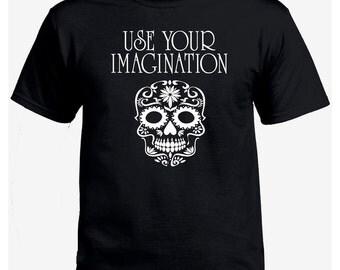 use your imagination geek black t-shirt