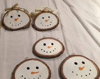 Wood Slice Snowman Christmas Ornaments