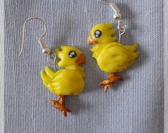 Earrings-polymer clay jewelry-games-final fantasy-chocobo