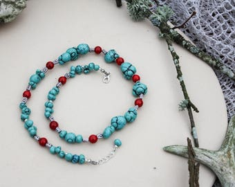 FREE SHIPPING Turquoise necklace Gemstone necklace Red coral with turquoise necklace Bride of honor jewelry December birthstone Womens gift