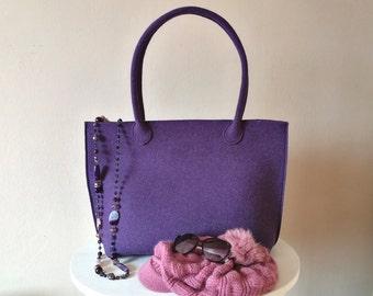 Casual elegant violet bag, felt bag, wool bag, hand bag, Italian bag, shopper, shopping bag, hand made in Italy bag, Valentine of BeFeltBags