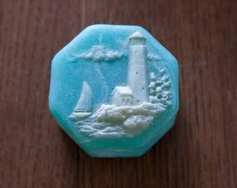 Turquoise Soapstone Trinket Box with Lighthouse Scene