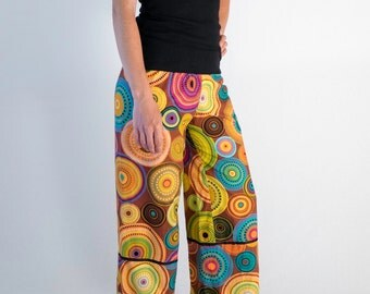 Colorful elastic waist pants