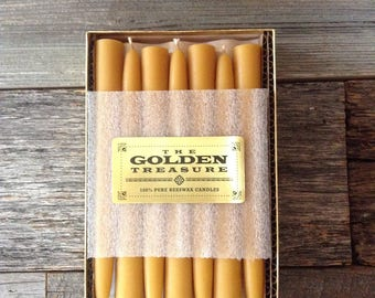 """Golden Treasure Box - 8"""" x 7/8"""" Beeswax Tapers, pack of 14 w/Free Shipping"""