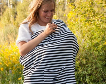 Black Stripes Multi-Use Nursing Cover with Front Pocket