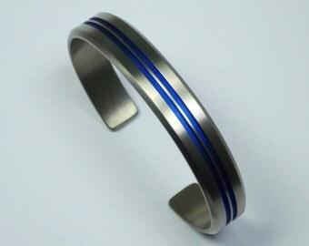 Solid titanium bracelet,  anodized titanium.