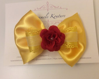 """5""""  Beauty Bow     (Belle Bow) Beauty and the beast"""