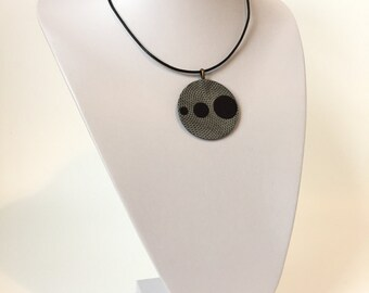 Leather Necklace Pendant Grey and Dark Purple