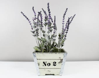 Hand Painted Wooden Farmhouse Planter with Lavender No 2