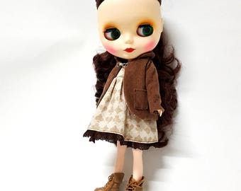 Round Collar Jacket Brown for Blythe, Coat for Fashion Doll Outfit
