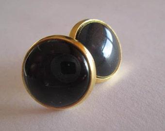 golden, Small earrings, handmade, Spain, jewelry, Studs, Earrings, Resin , black, Button, Spain, Europe, Woman,