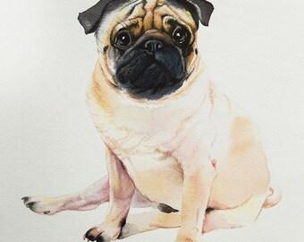 Dog portrait.Pug.Custom pet portrait.