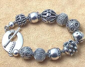 Sterling Silver Bracelet, Toggle Clasp