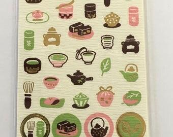 Washi Sticker - Green Tea Design - Sticker Pack - Planner Sticker - Decorative Sticker - Japanese Sticker - Fancy Sticker - Kawaii Sticker
