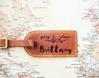 Personalized Leather Luggage Tag - Engraved Leather Luggage Tag - Custom Luggage Tag