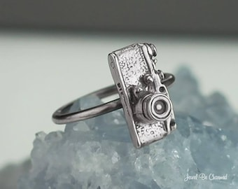 Sterling Silver Camera Ring Solid .925 Photography Rings Custom Sizes