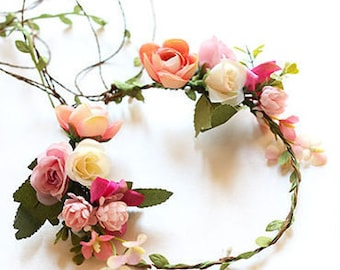 Boho Flower Crown with Pink and Peach Spring Blossom - Hair Vein / Wedding / Bridesmaids / Prom