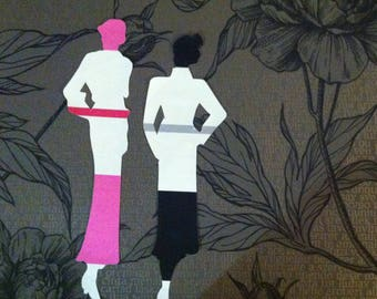 Models and rose  - collage on wallpaper - artwork