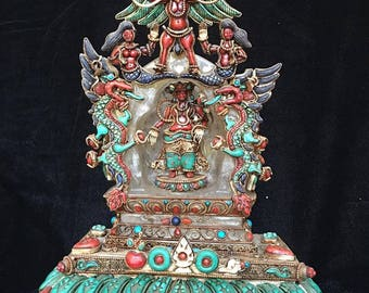 Masterpiece Nepal Green Tara Buddhist Shrine crafted from Crystal & Gem Inlay Lapis Coral Turquoise