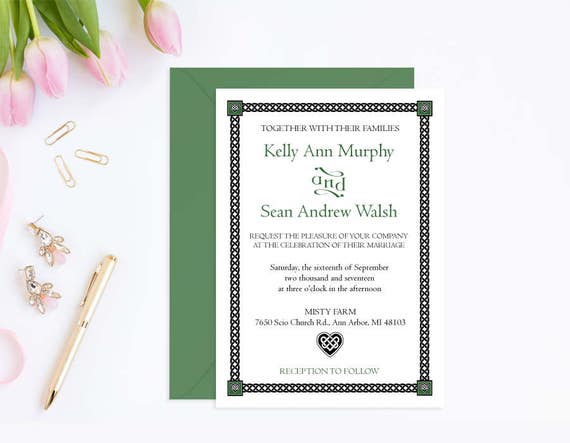 Irish Wedding Invitation Template Printable Instant Download Invitations With Celtic Heart Design PDF WCT 06