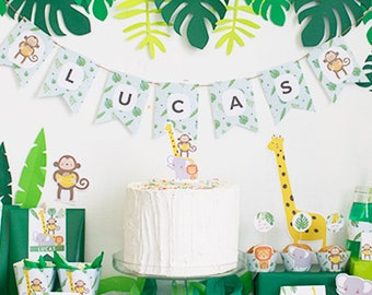 printable kit for jungle birthday parties - jungle animals pack