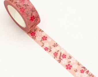 Pink & White Sakura Washi Tape (1 pc) Japanese Stationery Floral Masking Planner Scrapbook