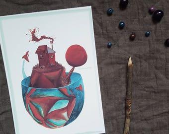 "Illustration - île paradisiaque - ""Poisson volant"" -"