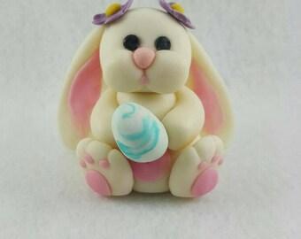 Edible fondant Easter bunny rabbit cake topper with Easter egg