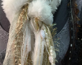 faux white fiber scarf
