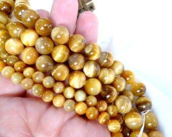 Natural Round Smooth GOLDEN TIGER EYE Beads /Minerals/ Strand