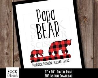 Typography Printable, Dad Home Decor, Papa Bear Printable, Plaid Bear, Dad Printable, Red Plaid Bear, PDF Digital Download, Sku-RHO125