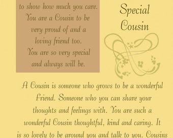 Cousin Birthday Card with removable laminate (female)