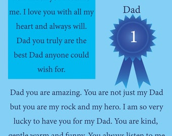 Dad Fathers Day Card with removable laminate