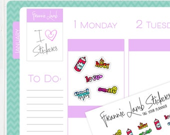 Graffiti Text Planner Stickers, Planner Stickers, Text Stickers, Planner Tagging Stickers, Kawaii Stickers, Tiny Stickers