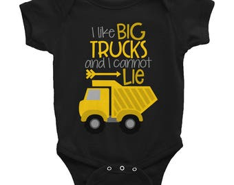 Construction Shirt, Boys Coming Home Outfit,  Baby Boy Clothes, Toddler Boy Clothes, Funny Baby Clothes, I Like Big Trucks and I Cannot Lie