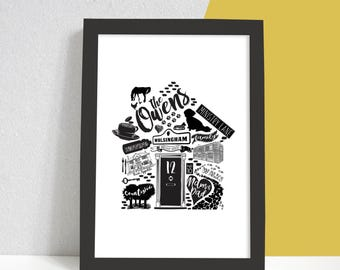Personalised Home Print, New House Gift, A4 Housewarming Print, Moving In, New Home, Black and white Print, Family Gift, Gift for Couples,