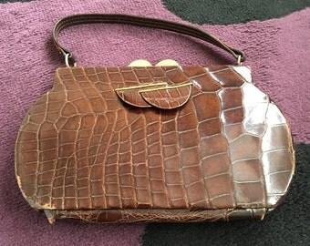 Vintage Crocodile Leather Handbag, maker unknown