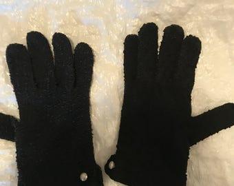 Antique Child's Crochet Gloves, Black Gloves, Pearl Buttons, Crocheted Gloves