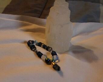 Mystic Blue Beaded Bracelet with crystal charm