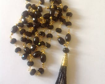 Long jet black tassel necklace black necklace flapper necklace beaded necklace handmade necklace