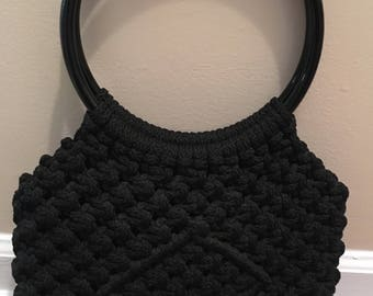 Vintage Black Macrame Handbag with big, round handles