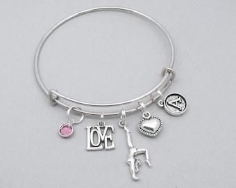 Love gymnastics charm bracelet with vintage style initial | gymnast bracelet | gymnastics lover bracelet | gymnastics jewelry | gymnast gift