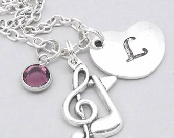 Music note heart initial necklace   musical note necklace   music note pendant   personalised music necklace   musical symbol jewelry